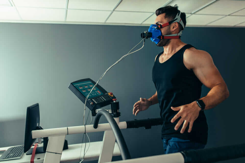 A man running on a treadmill testing VO2 Max