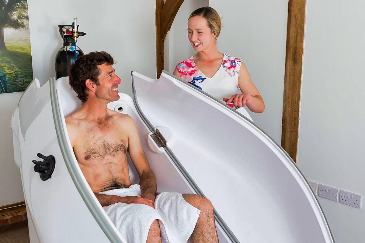 A man getting ready to enjoy an ozone sauna